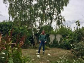 Martine in her garden in Vernon