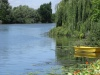 Yellow boat of Vernon-Giverny with Stourer Martine